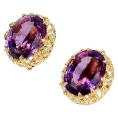 Brutalist 14 Karat Gold and Oval Cut Amethyst Earrings