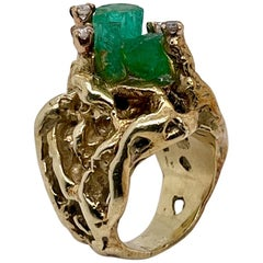 Brutalist 14 Karat Gold, Chatham Emerald and Diamond Cocktail Ring