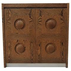 Brutalist 2 Doors Cabinet by De Coene, circa 1970