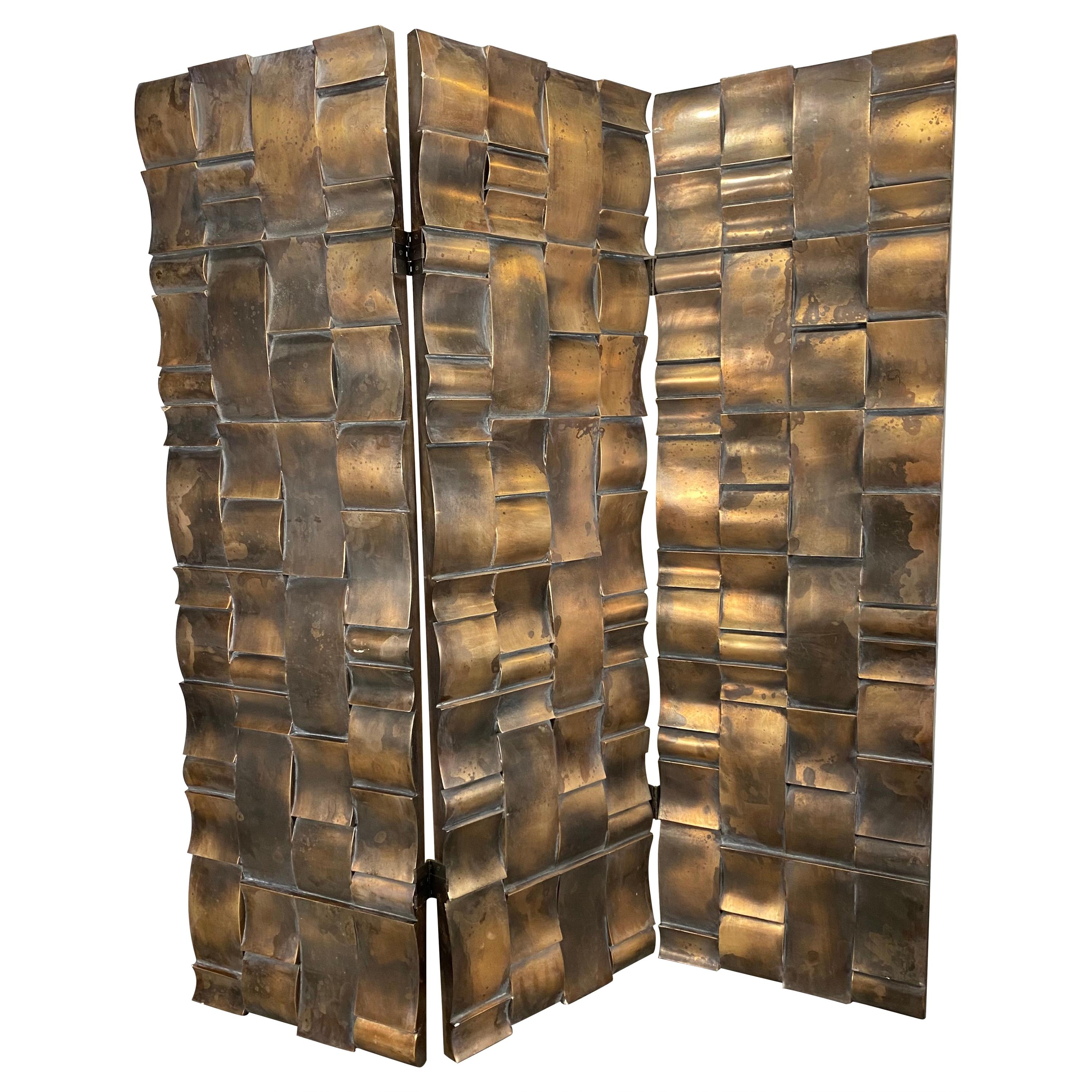 Brutalist 3-Panel Folding Screen or Room Divider, Sculpted Bronze Clad Resin