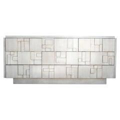 Brutalist 9-Drawer Dresser Credenza by Lane in a Custom White Finish