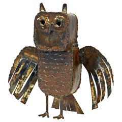 Brutalist Abstract Metal Figure of an Owl by Noted Mexican Artist M. Felguerez