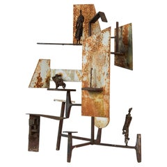 Brutalist Abstract Metal Sculpture
