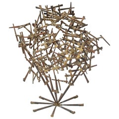 Brutalist Abstract Nail Tabletop Sculpture Vintage