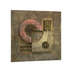Brutalist Abstract Wall Sculpture in Brass and Copper Stephen Chun, 1970s