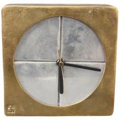 Brutalist Aluminium and Brass Decorative Clock by David Marshall, circa 1980s