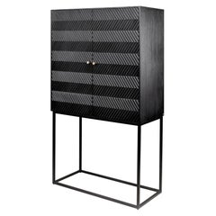 Brutalist and MCM 1950s Design Style Wooden and Black Metal Bar Cabinet