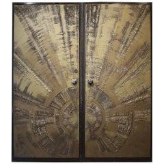 Brutalist Architectural Double Front Doors