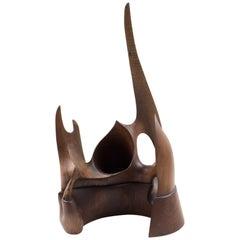 Brutalist Architectural Ornament Wooden Futuristic Sculpture