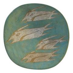 Brutalist Art Pottery Bowl by Gorka Livia, 1950s
