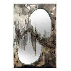 Brutalist Artisan Mirror with Welded Rods, 1970s