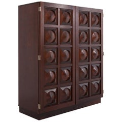 Brutalist Bar Cabinet in Dark Mahogany