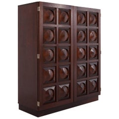 Brutalist Bar Cabinet in Dark Mahogany