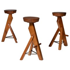 Brutalist Bar Stools in Solid Oak, Set of Three
