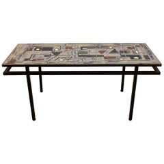 Brutalist Belgian Ceramic and Steel Artwork Coffee Table, 1970s, Signed