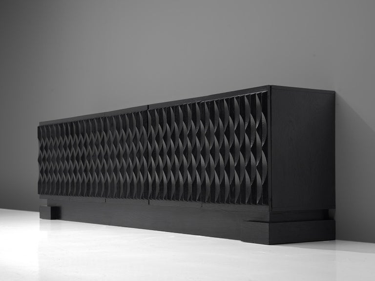 Late 20th Century Brutalist Black Lacquered Credenza For Sale