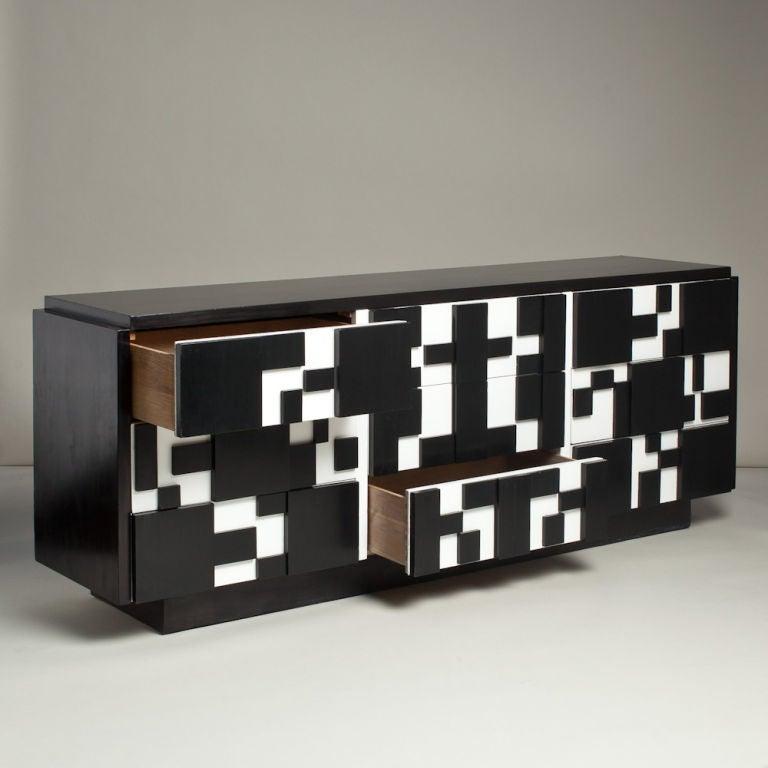 Mid-Century Modern Brutalist Black & White Lacquer Dresser/Credenza by Lane For Sale