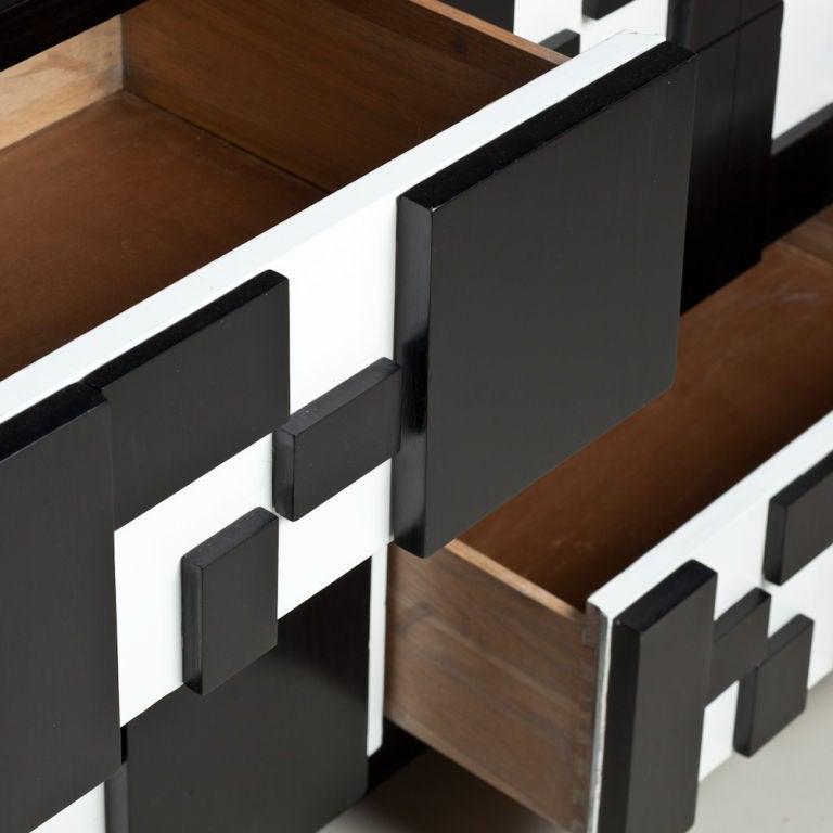 American Brutalist Black & White Lacquer Dresser/Credenza by Lane For Sale