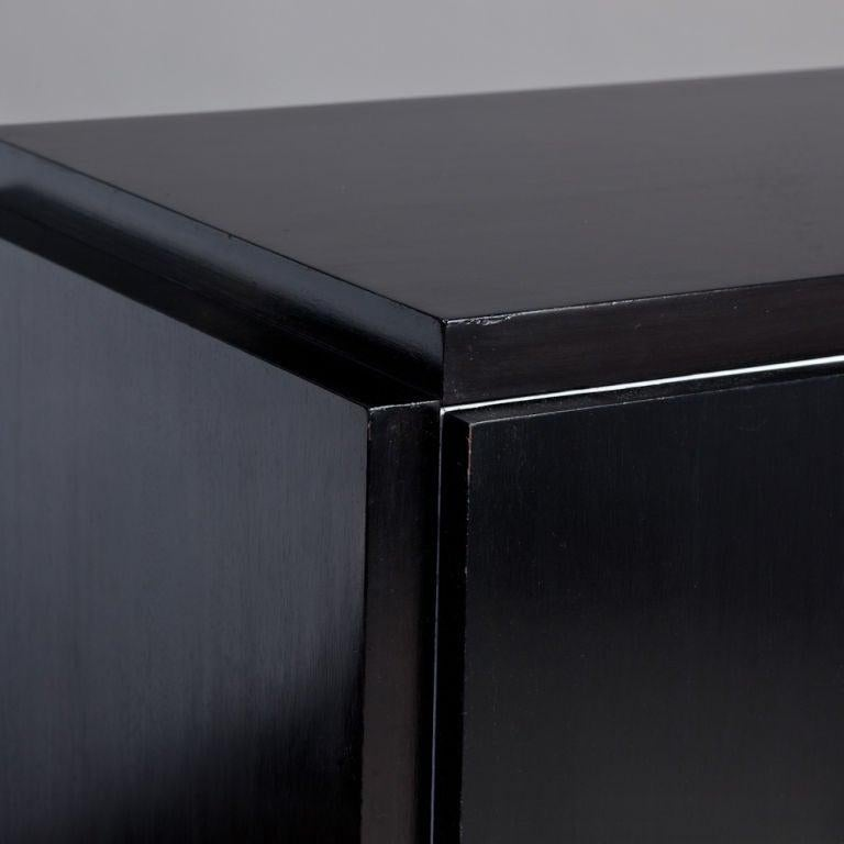 Lacquered Brutalist Black & White Lacquer Dresser/Credenza by Lane For Sale