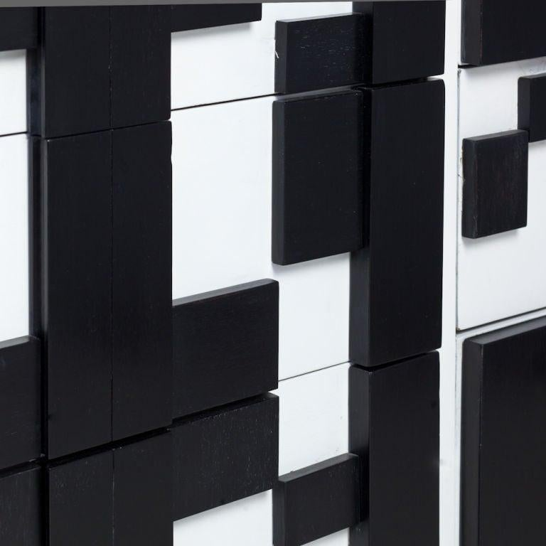 Brutalist Black & White Lacquer Dresser/Credenza by Lane In Good Condition For Sale In Dallas, TX