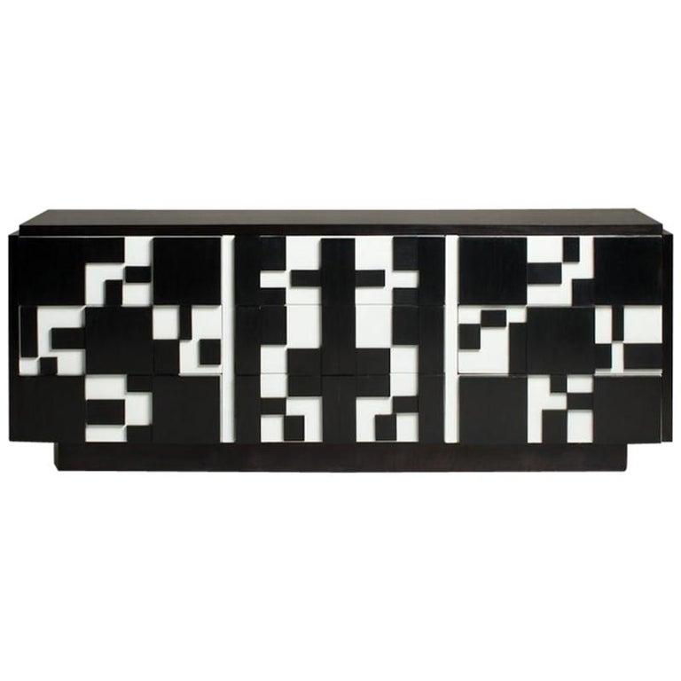 Brutalist Black & White Lacquer Dresser/Credenza by Lane For Sale