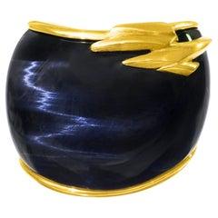 Brutalist Blue Labradorite and Gold Ring