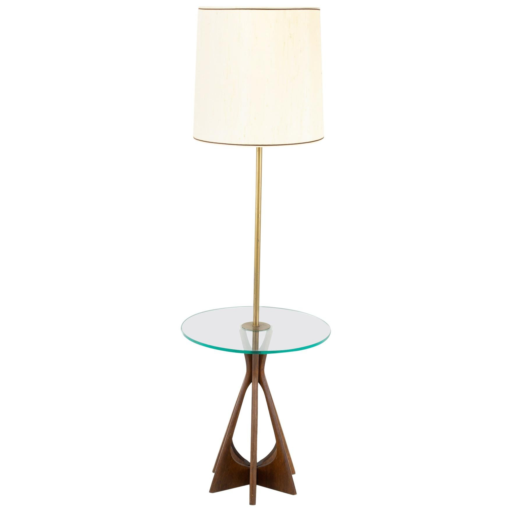 Brutalist Brasilia Style Mid Century Walnut Floor Lamp with Glass Table