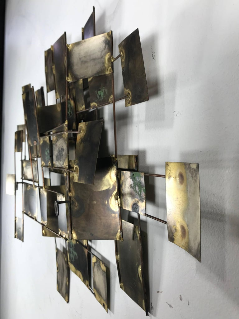 American Brutalist Brass and Copper Wall Sculpture