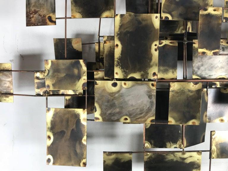 Brutalist Brass and Copper Wall Sculpture