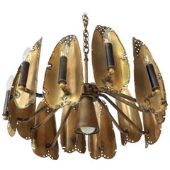 Brutalist Brass Chandelier by Tom Greene for Feldman, 1960s, USA