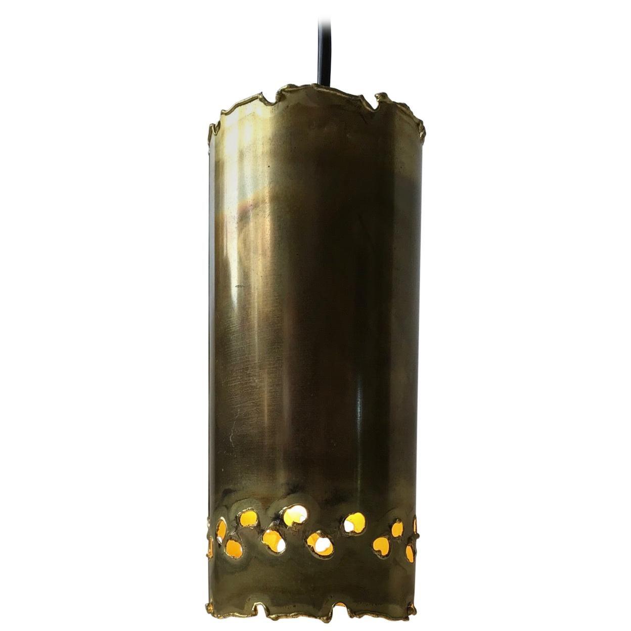 Brutalist Brass Hanging Lamp by Svend Aage Holm Sørensen, 1960s