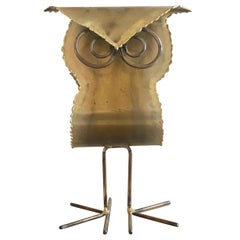 Brutalist Brass Owl Sculpture