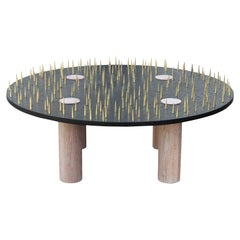 Brutalist Brass Spiked Custom Round Postmodern Black Coffee Table