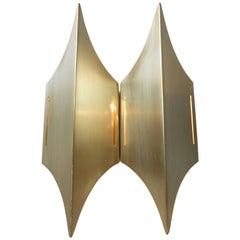 Brutalist Brass Wall Sconce 'Gothic' by Lyfa, Denmark, 1960s