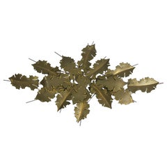 Brutalist Brass Wall Sculpture in Leaves Form