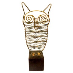 Brutalist Brass Welded Metal Owl Sculpture on Wood Base