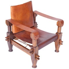 Brutalist Brazilian Armchair with Cognac Leather Seating