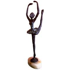 Brutalist Bronze Ballerina Sculpture