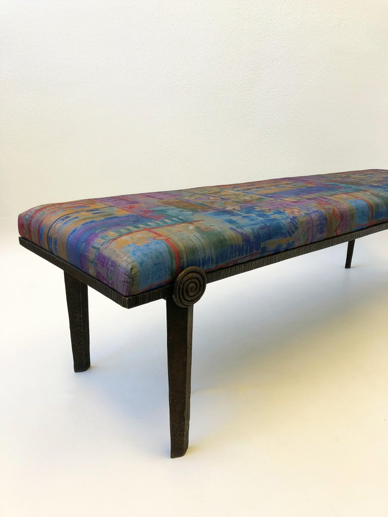 Late 20th Century Brutalist Bronze Bench by Steve Chase For Sale