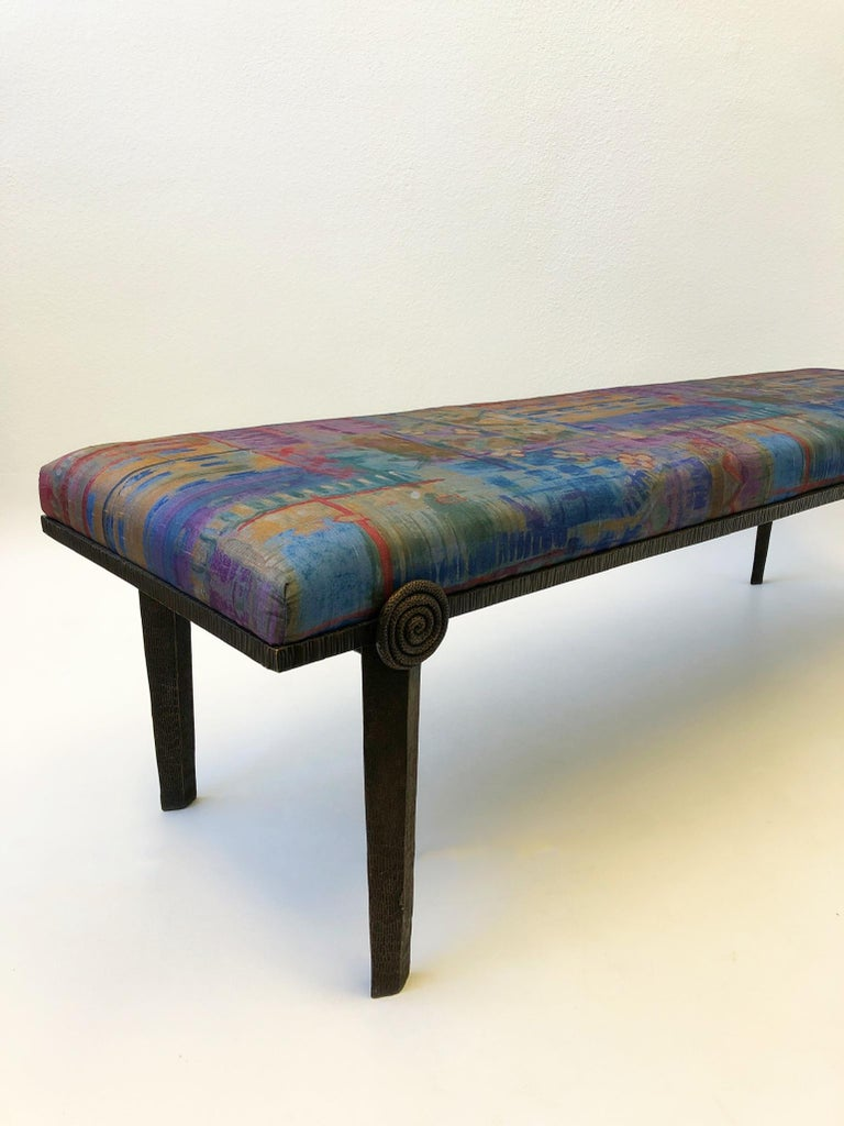 Brutalist Bronze Bench by Steve Chase For Sale 3