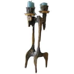 Brutalist Bronze Candleholder, 1960s