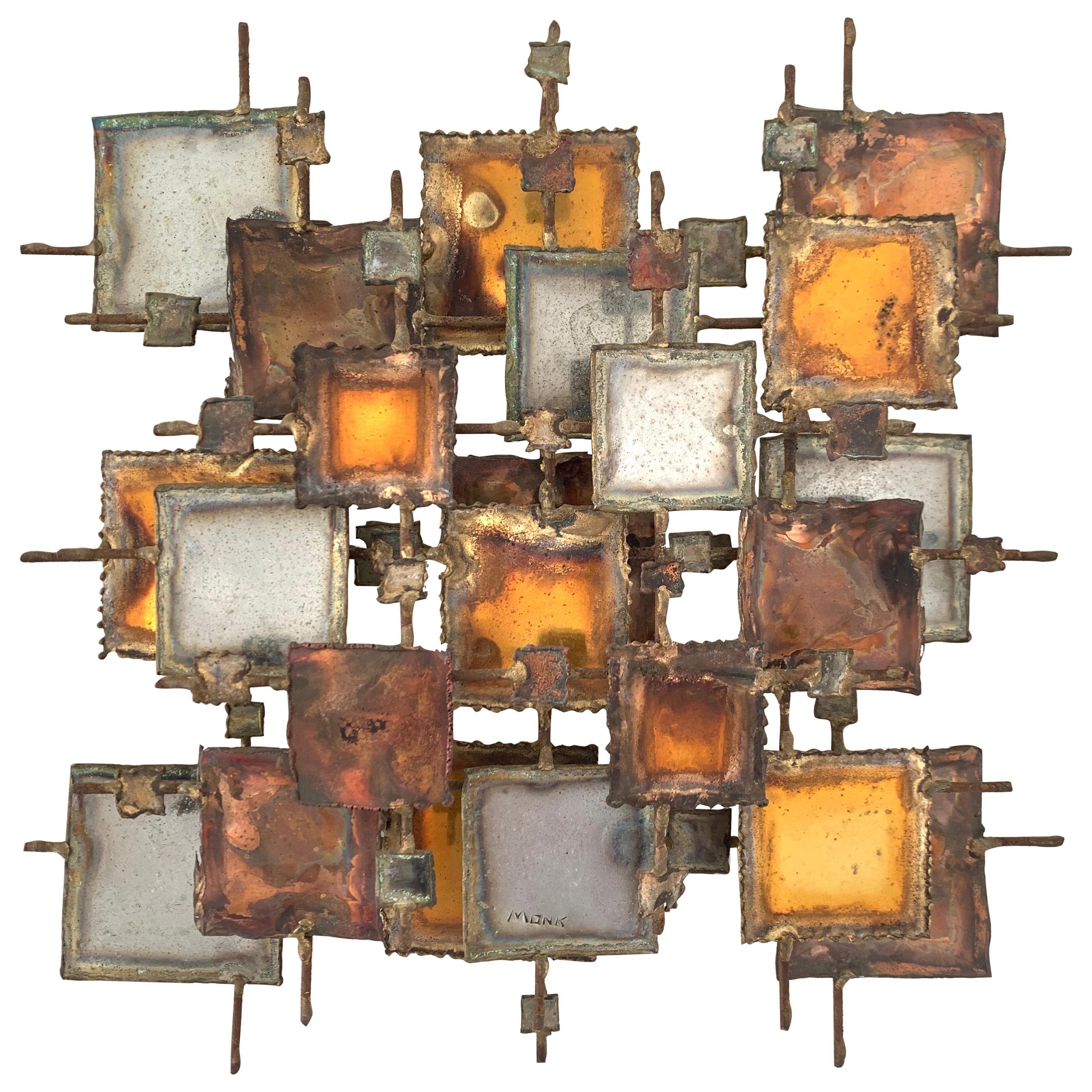 Brutalist Bronze, Copper, Brass, and Steel Wall Sculpture, 1970, Signed MONK