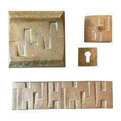 Brutalist Bronze Door Handle and Fittings with Geometric Design 'II'