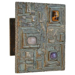 Brutalist Bronze Door Handle with Semi Precious Stones for Push and Pull Doors