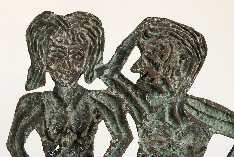 North American Brutalist Bronze Figurative Sculpture by Davis David, 1993 For Sale