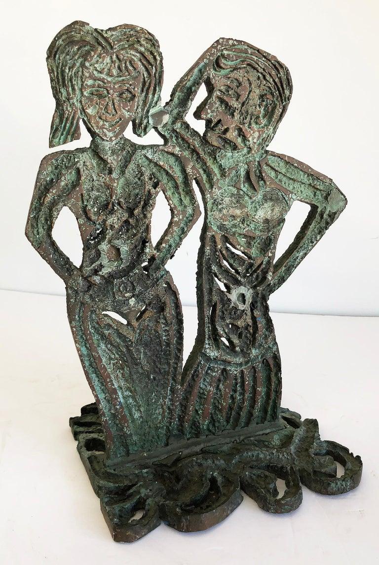Late 20th Century Brutalist Bronze Figurative Sculpture by Davis David, 1993 For Sale