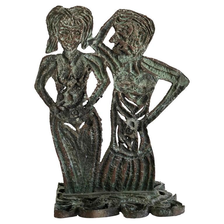 Brutalist Bronze Figurative Sculpture by Davis David, 1993 For Sale