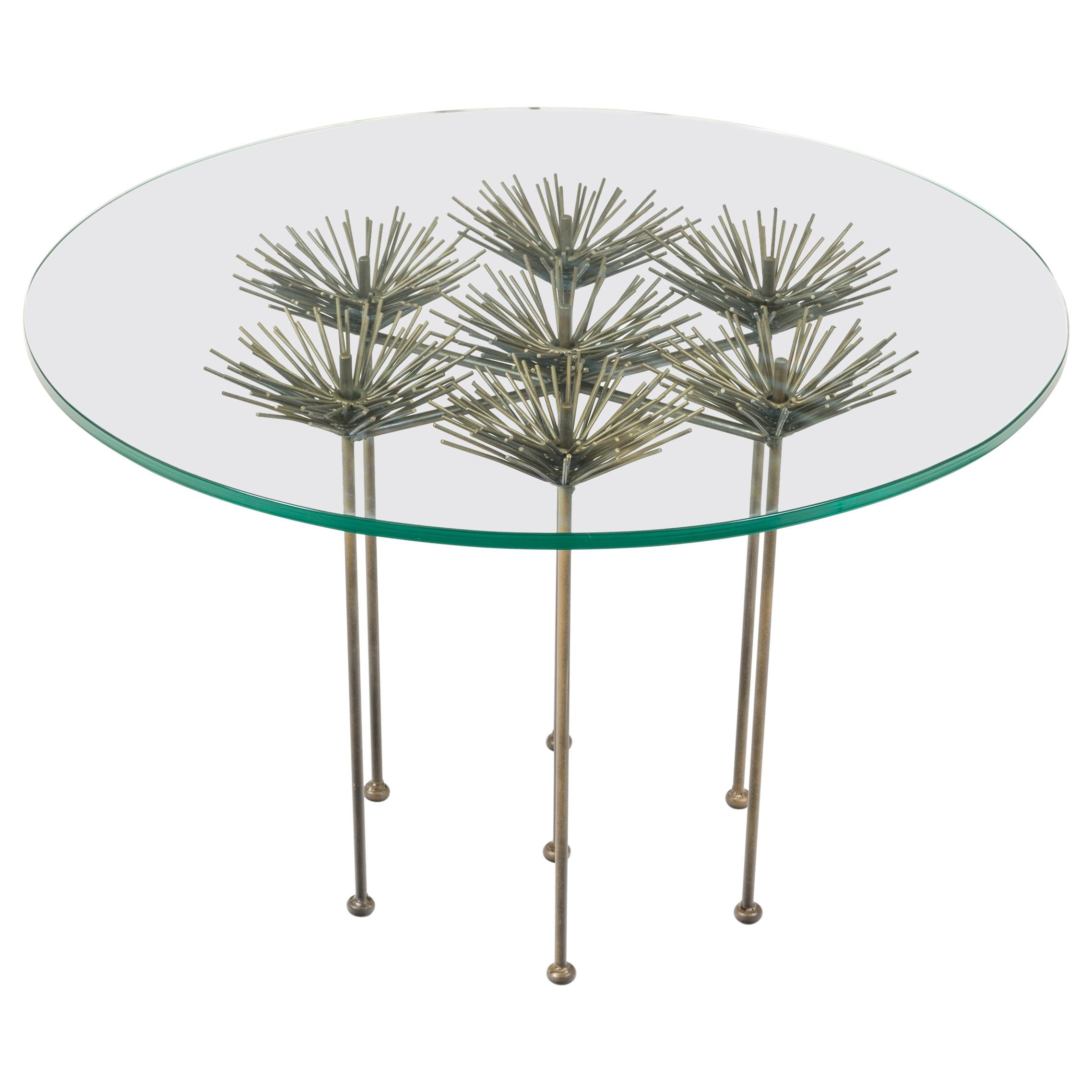 Brutalist Bronze Gilt Floral Table with Glass Top by Lost City Arts