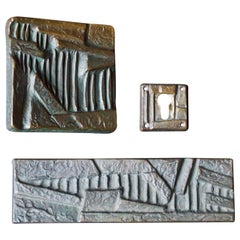 Brutalist Bronze Push or Pull Door Handle Set with Abstract Design, 20th Century