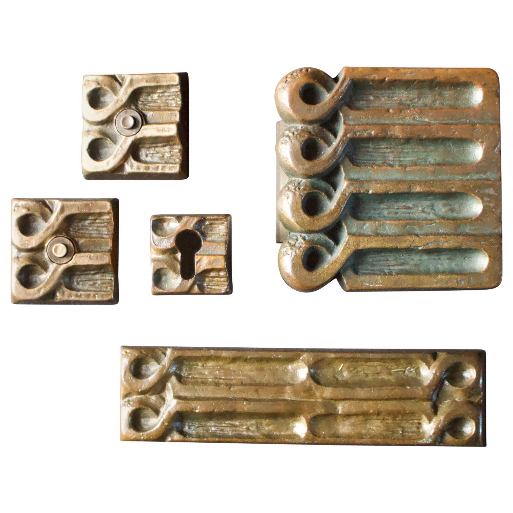 Brutalist Bronze Push or Pull Door Handle Set with Abstract Design, 20th Century